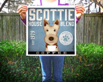 Scottie dog Coffee Company Scottish Terrier original illustration giclee archival signed artist's print by Stephen Fowler Pick A Size