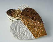 Pair of Mini Heart Dishes / Tea Bag Holders in Autumn Spice and White with Wildflower Design