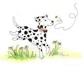 Daisy Dalmation Playful Children's Illustration print