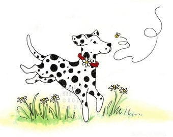 Daisy Dalmation Playful Children's Illustration print