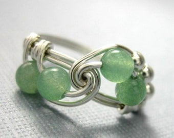 Green Math Ring Sterling Silver Wire Wrapped Fibonacci Ring Green Aventurine Math Jewelry