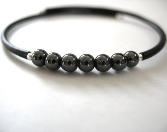 Hematite Bracelet, Black Hematite Stone Bounce Back Bracelet, Handmade Hematite Gemstone Jewelry