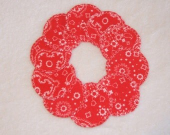 Reusable Cotton Rounds in Red Bandana Print to use with makeup remover
