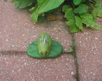 Painted rocks frog on a lily pad with glow in the dark feature