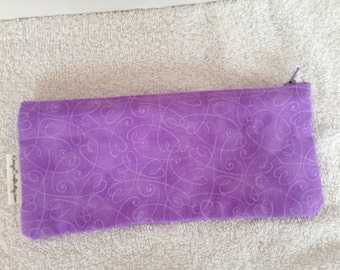 Zippered Pencil Pouch-Swirly Hearts on Purple (9-inch) (Pencil 115)