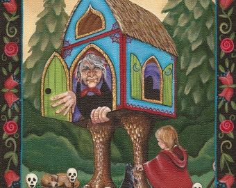 Baba Yaga - Russian Folk Tale Witch - 8 x 10 Print of Original Acrylic Painting by Carolee Clark
