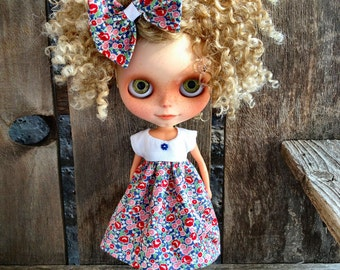 dolly molly FLOWERS dress and bow for BLYTHE doll