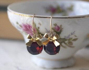 Garnet jewel earrings red gem gold bow glass January birthstone crystal