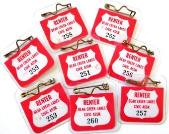 Cabin Rental... Vintage Bear Creek Renter Civic Association Numbered Tags Pins Set of 5 Camping Boat Rental Fishing License