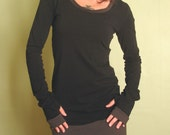 tunic dress extra long sleeves w/thumb holes Black/Cement Grey