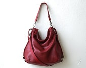 sale - HOBO PACK  in red - 'three in one' - crossbody bag - leather backpack