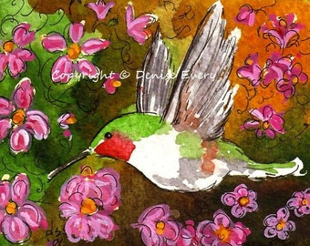 Ruby-Throated Hummingbird Pink Clematis Abstract Bird Art ACEO Print ATC Flowers