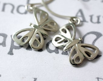 Sterling Silver Modern Butterfly Earrings Nature Inspired Designer Jewelry