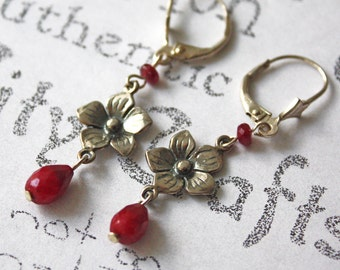 Sterling Silver Flower and Ruby Gemstone Handmade Earrings