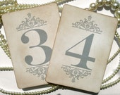 Silver Grey Wedding Table Numbers, Vintage Inspired Wedding, UK handmade, Wedding Place Cards, Wedding Table Plans, Wedding Decorations