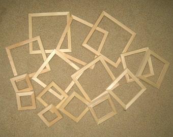 Mini frames assortment of 15 square unfinished wood