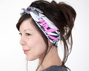 Tie Up Headscarf // Knotted Hair Wrap // Fashion Headband // Fabric Headband // Neon Fern Print