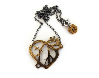Anatomical heart necklace // bronze