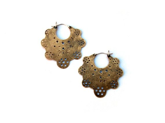 Crop Circle Hoop Earrings // brass