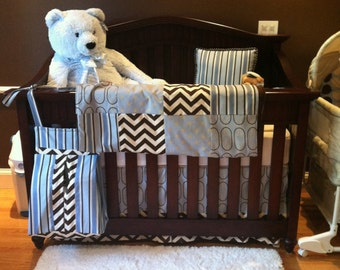 Custom Baby Blue Chocolate and Beige Modern Complete Boutique 2-Piece Crib Bedding Set