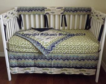 HOT SALE* READY To Ship Custom Retro Rides & Chevron Navy Grey and Green Baby Nursery Bumperless Complete Crib Bedding Set