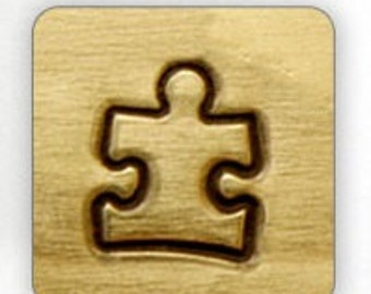Design Stamp - Autism Awareness Puzzle Piece - 6mm stamped image by ImpressArt -  includes How to Stamp Metal tutorial