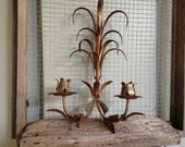 VINTAGE DECOR...ornate candle holder,wall hanging,party, European,gold leaves, flower, metalwork
