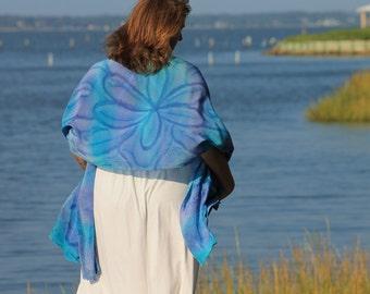 Wildflower . . . hand painted silk crepe de chine wrap, shawl