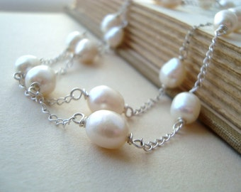 White Pearl Chain Necklace Bridal Jewelry Pearl Jewelry June Birthstone Weddings Gifts Under 100 Mothers Day Jewelry Gifts For Her