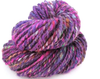 Handspun Yarn – Hand Dyed Wool – 2 Ply Aran Weight Yarn – Purple tweed – 55 Yards