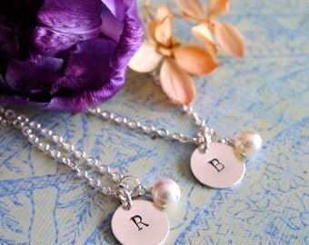 TWO Personalized Bridesmaid Necklaces, Bridesmaid Set, Pearl Necklace with Initial, Bridesmaid Gift, Bridal Party Gift