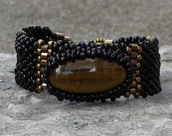 Free Form Peyote Stitch Beaded Bracelet  - Purpose - Bead Weaving - Tiger Eye - DISCOUNTED