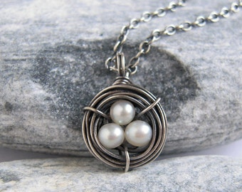 Tiny Egg Nest Necklace, White Pearl Pendant, Sterling Silver Bird Nest, Memorial Jewelry, Personalized Necklace, Baby Shower Gift