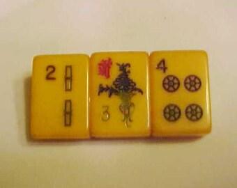 Bakelite Amber Mah-Jongg Pin Lucky 234 Jan Carlin Original