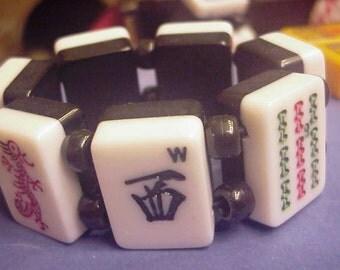 Black and White Lucite Mah Jong Red Dragon Bracelet Jan Carlin