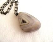 Druzy Agate Necklace Pale blue grey Winter fashion Gemstone necklace Vitrine Gift for her Under 55