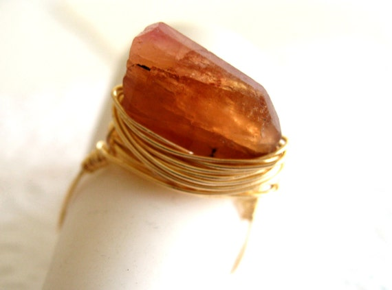 Tourmaline Ring Statement jewelry Apricot caramel by Vitrine Gift for her Under 45