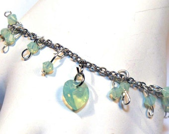 October Birthstone - Opal Heart Necklace - Bracelet and Earrings Set