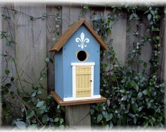 Folk Art Primitive Fleur de Lis Garden Robin Egg Blue Cottage Birdhouse