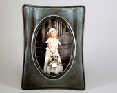 Photo frame picture frame gothic- Dark brown muted greens and white - 4 x 6 - clay stoneware