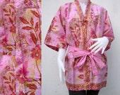 Pink Flowers Thai Batik Cotton Wrap Kimono Wedding Bridesmaid Bath Robe  (R46)