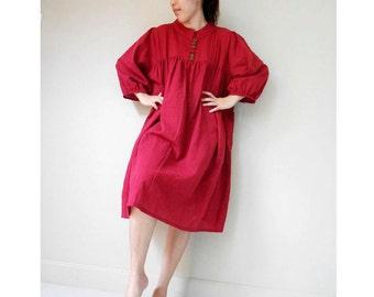 Custom Made Burgundy  cotton Short Front Buttons  Loose  Short Tunic   Dress (S 2)