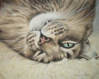 Custom Pet Portrait Acrylic Painting 8 x 10 Cat