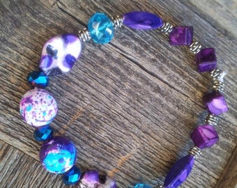 Glass Beaded Purple with Turquoise Bracelet