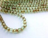 Renaissance Glass Czech Beads - 6mm - 25 Pieces - Picasso Peridot