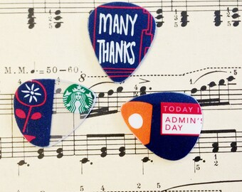Guitar Picks - recycle Upcycled pick plastic gift cards for your Ukulele Guitar Mandolin - Admin's Day