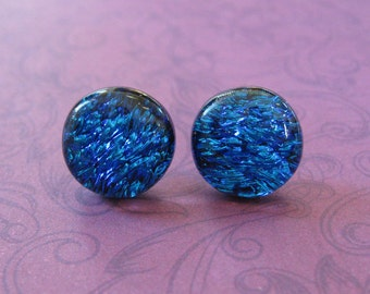 Blue Earrings, Dichroic Stud Earrings, Hypoallergenic Jewelry, Cobalt Blue Fused Glass Jewelry - Ally - 2306 -4