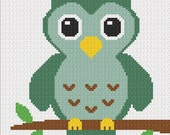 INSTANT DOWNLOAD Chella Crochet Easy Too Cute Green Baby Owl Crochet Knit Cross Stitch Afghan Pattern Graph