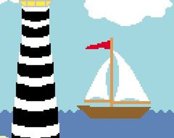 INSTANT DOWNLOAD Chella Crochet Baby Size Lighthouse No. 6 Afghan Crochet Pattern Graph