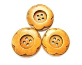 4 Wood buttons  flower shape large buttons 30mm, beautiful buttons